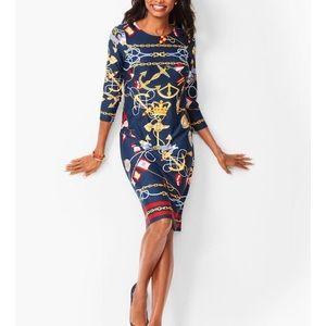 Talbots Nautical Print Jewel-Neck Shift Dress